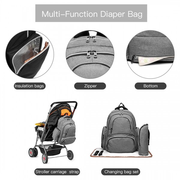E6706-Miss Lulu Large Capacity Multi Function Baby Diaper Backpack Grey