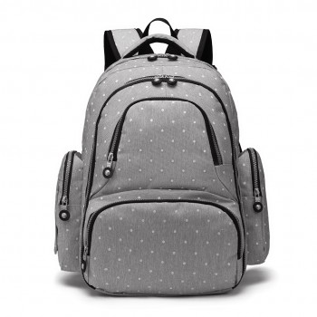 E6706D2- Miss Lulu Large Capacity Multi Function Baby Diaper Backpack Polka Dot Grey