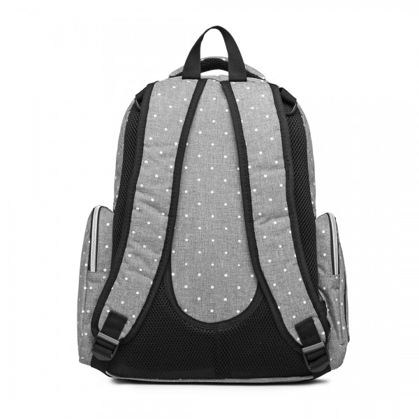 E6706D2- Miss Lulu Large Capacity Multi Function Baby Diaper Backpack Polka Dot Grey