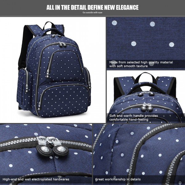 E6706D2- Miss Lulu Large Capacity Multi Function Baby Diaper Backpack Polka Dot Navy