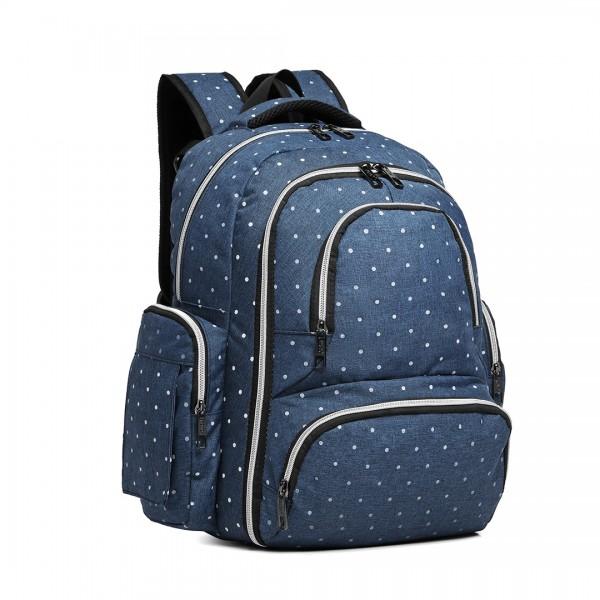 E6706D2- Miss Lulu Large Capacity Multi Function Baby Diaper Backpack Polka Dot Navy
