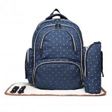 E6706D2-4pcs sac de maternité bébé couche-culotte changement sac à dos sac à dos polka dot marine