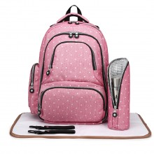 E6706D2- Miss Lulu Large Capacity Multi Function Baby Diaper Backpack Polka Dot Pink