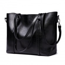 E6709 BK - Miss Lulu Trendy Womens Tote Bags Wax Leather Black
