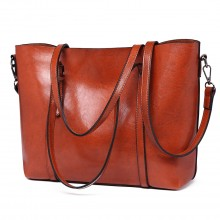 E6709 - Miss Lulu Trendy Womens Tote Bags Wax Leather - Brown