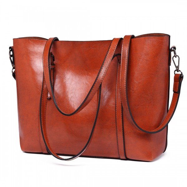 E6709 BN - Miss Lulu Trendy Womens Tote Bags Wax Leather Brown