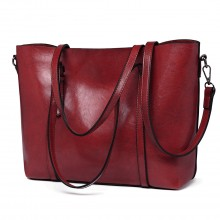 E6709 - Miss Lulu Trendy Womens Tote Bags Wax Leather - Burgundry