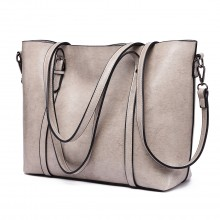 E6709 GY - Miss Lulu Trendy Womens Tote Bags Wax Leather Grey