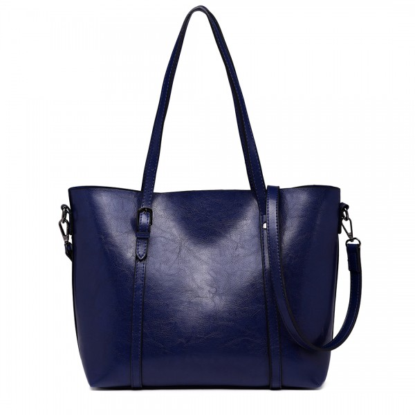 E6709 NY - Miss Lulu Trendy Womens Tote Bags Wax Leather Navy