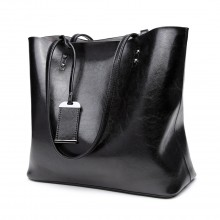E6710 BK - Miss Lulu Oil Wax Leather Top-Handle Bags Black