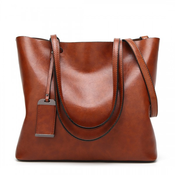 E6710 - Miss Lulu Oil Wax Leather Top Handle Bags - Brown