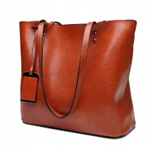 E6710 BN - Miss Lulu Oil Wax Leather Top-Handle Bags Brown