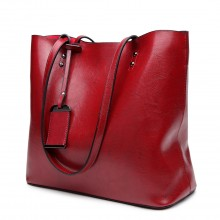 E6710 - Miss Lulu Oil Wax Leather Top Handle Bags - Burgundy