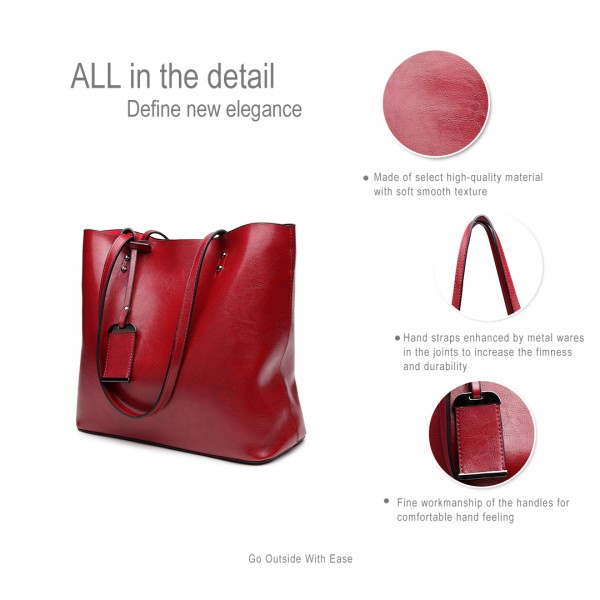 E6710 BY - Miss Lulu Oil Wax Leather Top-Handle Bags Burgundy