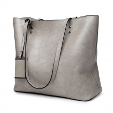 E6710 - Miss Lulu Oil Wax Leather Top Handle Bags - Grey