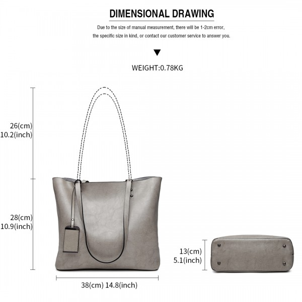 E6710 GY - Miss Lulu Oil Wax Leather Top-Handle Bags Grey