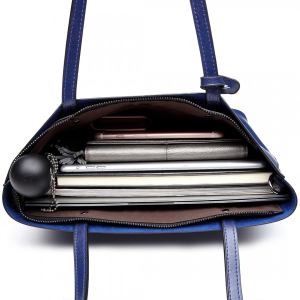 E6710 - Miss Lulu Oil Wax Leather Top Handle Bags - Navy