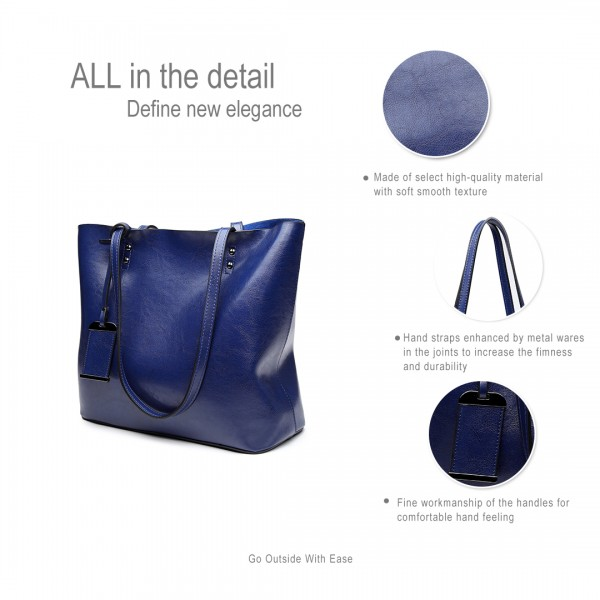 E6710 NY - Miss Lulu Oil Wax Leather Top-Handle Bags Navy