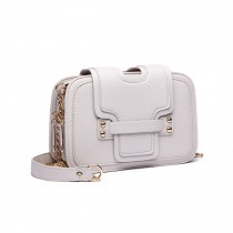 E6711 BG - Leather Look Small Cross Body Chain Strap Satchel Beige