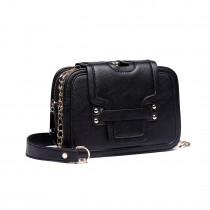 E6711 BK - Leather Look Small Cross Body Chain Strap Satchel Black