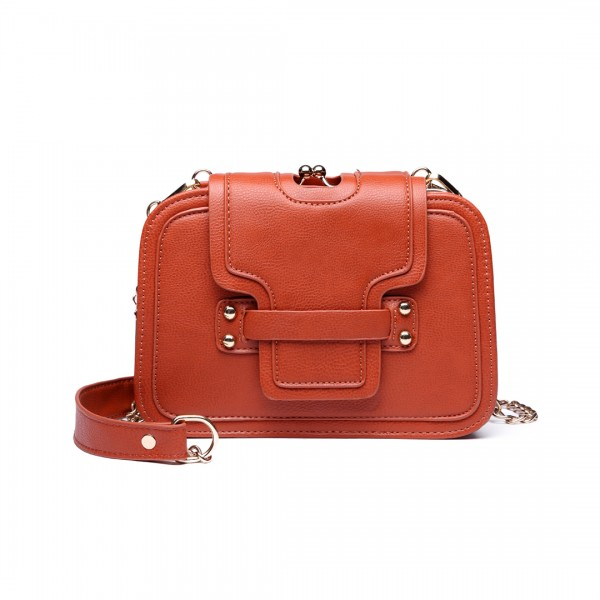 E6711 OE - Leather Look Small Cross Body Chain Strap Satchel Brown