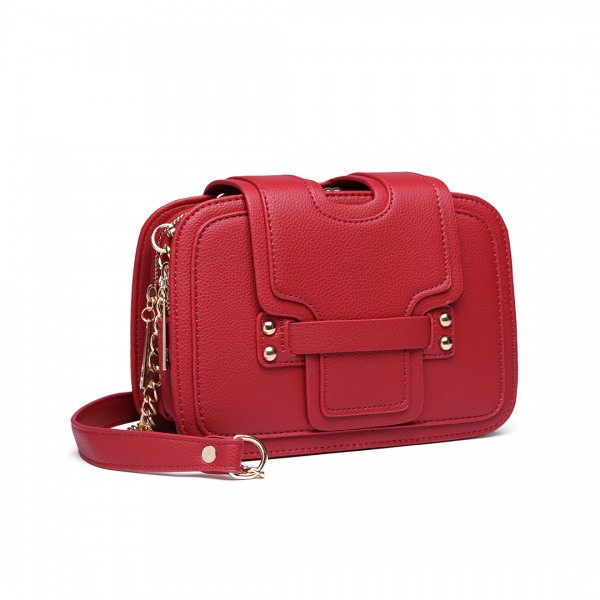 E6711 PM - Leather Look Small Cross Body Chain Strap Satchel Red