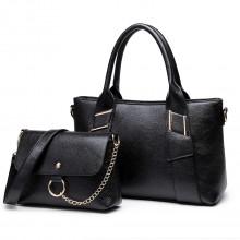 E6712 BK - Sac à main en cuir PU et sacoche noir