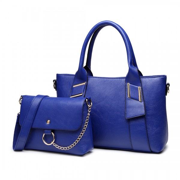 E6712 NY - PU Leather Tote Handbag & Satchel Set Navy