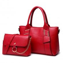 E6712 RD - PU Leather Tote Handbag & Satchel Set Red