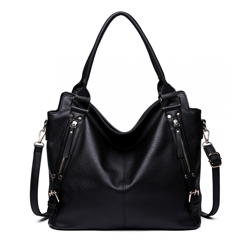 E6713 BK - Big Size Soft Leather Look Slouchy Hobo Shoulder Bag Black 319703e31cb6a