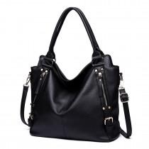 E6713 BK - Big Size Soft Leather Look Slouchy Hobo Shoulder Bag Black