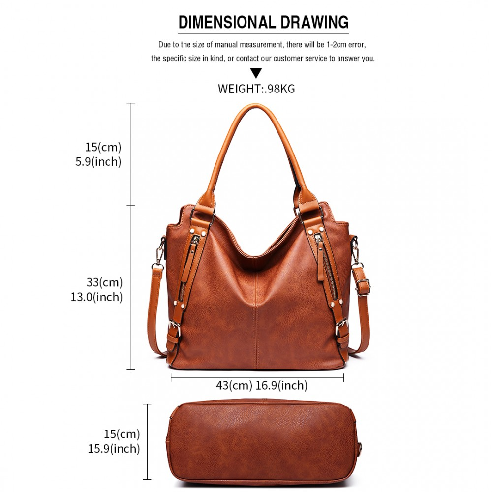 E6713 BN - Big Size Soft Leather Look Slouchy Hobo Shoulder Bag Brown 38695ac0335be