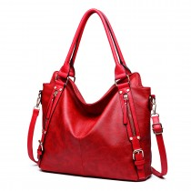 E6713 BY - Big Size Soft Leather Look Slouchy Hobo Shoulder Bag Burgundry