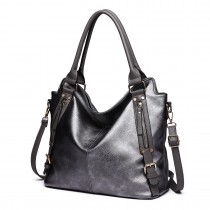 E6713 GY - Big Size Soft Leather Look Slouchy Hobo Shoulder Bag Grey