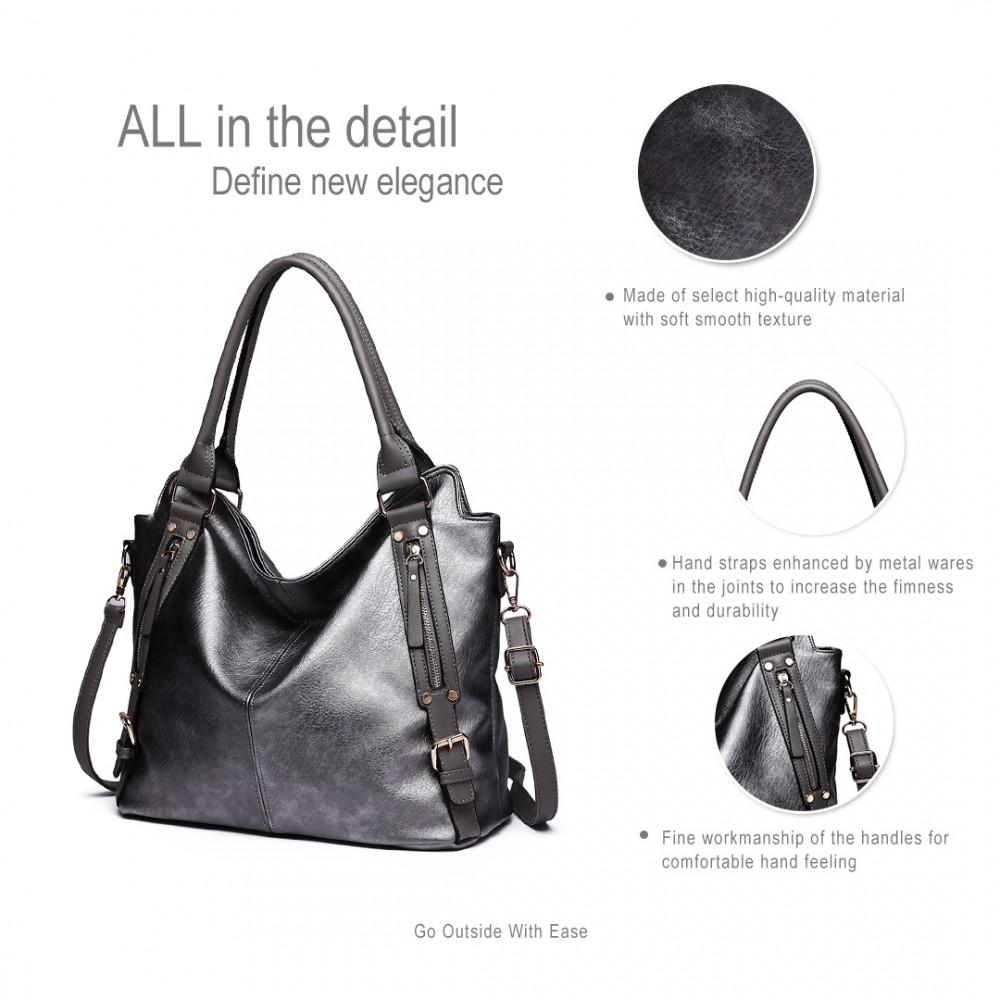E6713 GY - Big Size Soft Leather Look Slouchy Hobo Shoulder Bag Grey 6e672482a67e4