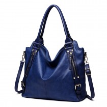 E6713 NY - Big Size Soft Leather Look Slouchy Hobo Shoulder Bag Navy