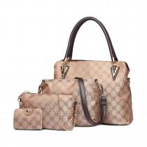 E6714-18M BN Miss LuLu Fashion PU Leather Handbag Purse 4pcs Set Brown