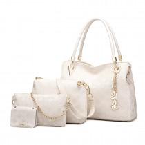 E6714-Miss LuLu Fashion PU Leather Handbag Purse 4pcs Set  BEIGE