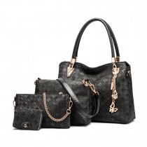 E6714-Miss LuLu Fashion PU Leather Handbag Purse 4pcs Set BLACK