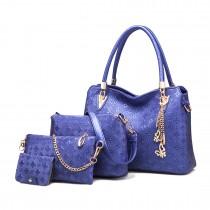 E6714-Miss LuLu Fashion PU Leather Handbag Purse 4pcs Set  NAVY