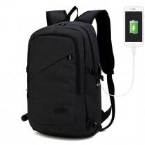 E6715 - Kono Biznesowy plecak na laptopa z portem ładowania USB - Czarny