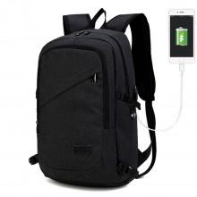 E6715 - Kono Sac à dos pour ordinateur portable professionnel avec port de charge USB - Noir