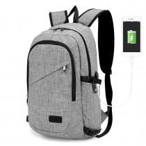 E6715 - Kono Biznesowy plecak na laptopa z portem ładowania USB - szary