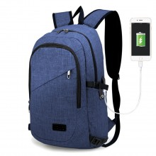 E6715 - Kono Business Laptop Backpack with USB Charging Port - Navy Blue