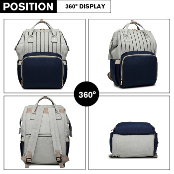 E6814 - MISS LULU MULTI FUNCTION BABY DIAPER CHANGING BACKPACK - BLUE