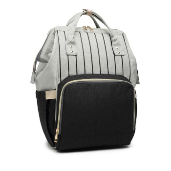 E6814 - MISS LULU MULTI FUNCTION BABY DIAPER CHANGING BACKPACK - BLACK