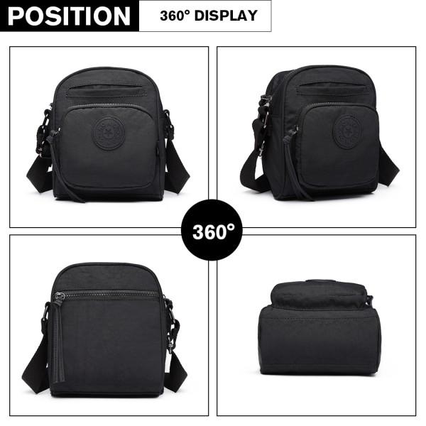 E6823-KONO Lightweight Casual Travel Bag Multi Pocket Cross Body BLACK