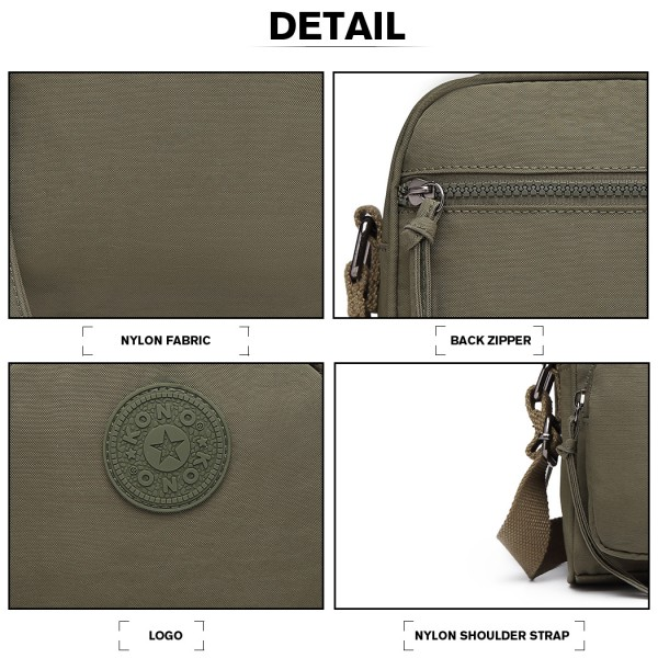 E6823-KONO Lightweight  Casual Travel Bag Multi Pocket Cross Body  GREEN