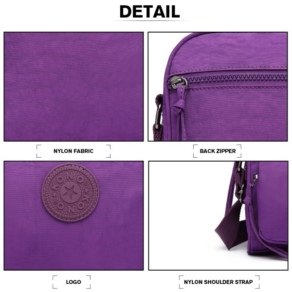E6823-KONO Lightweight Casual Travel Bag Multi Pocket Cross Body  PURPLE