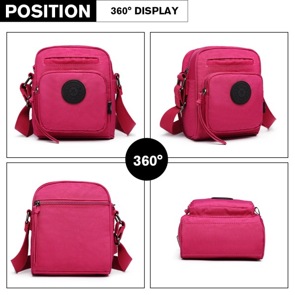 E6823-KONO Lightweight Casual Travel Bag Multi Pocket Cross Body  PLUM